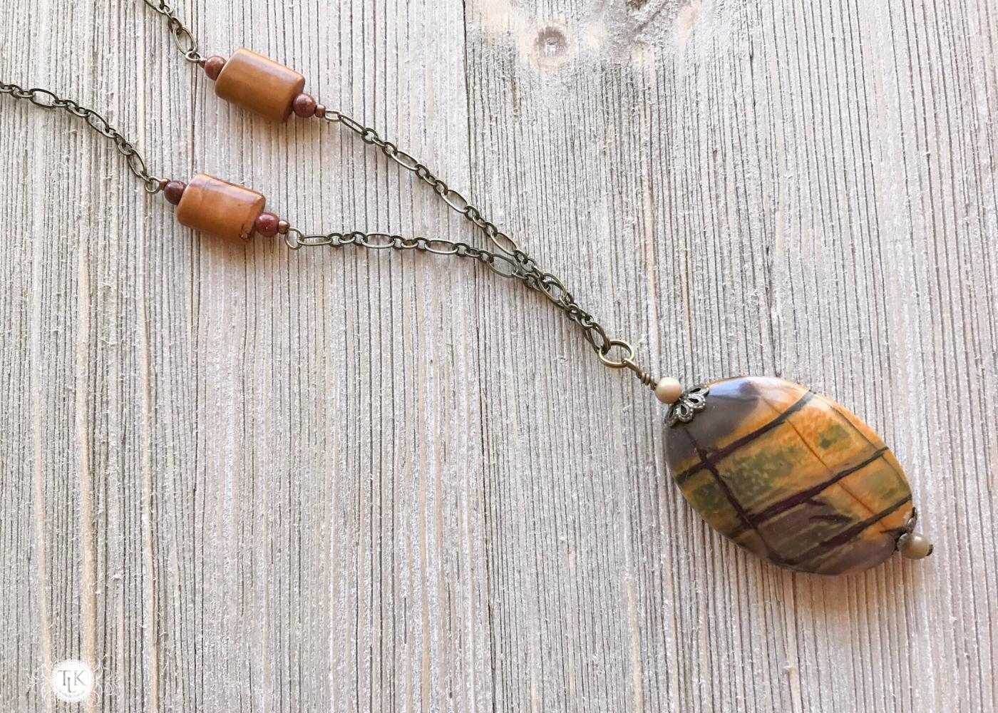 THREE LITTLE KITTENS | Picasso Jasper Pendant Necklace 3736n
