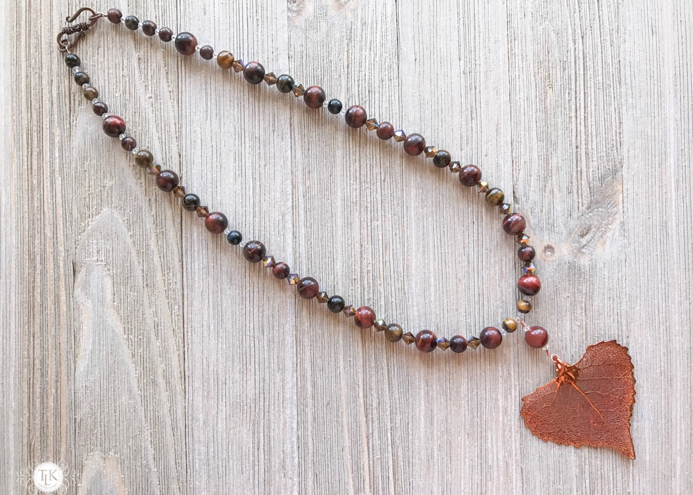THREE LITTLE KITTENS | Copper Iridescent Cottonwood Leaf Tiger Eye Necklace 3649n