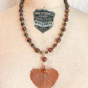 THREE LITTLE KITTENS | Copper Iridescent Cottonwood Leaf Tiger Eye Necklace 3649n