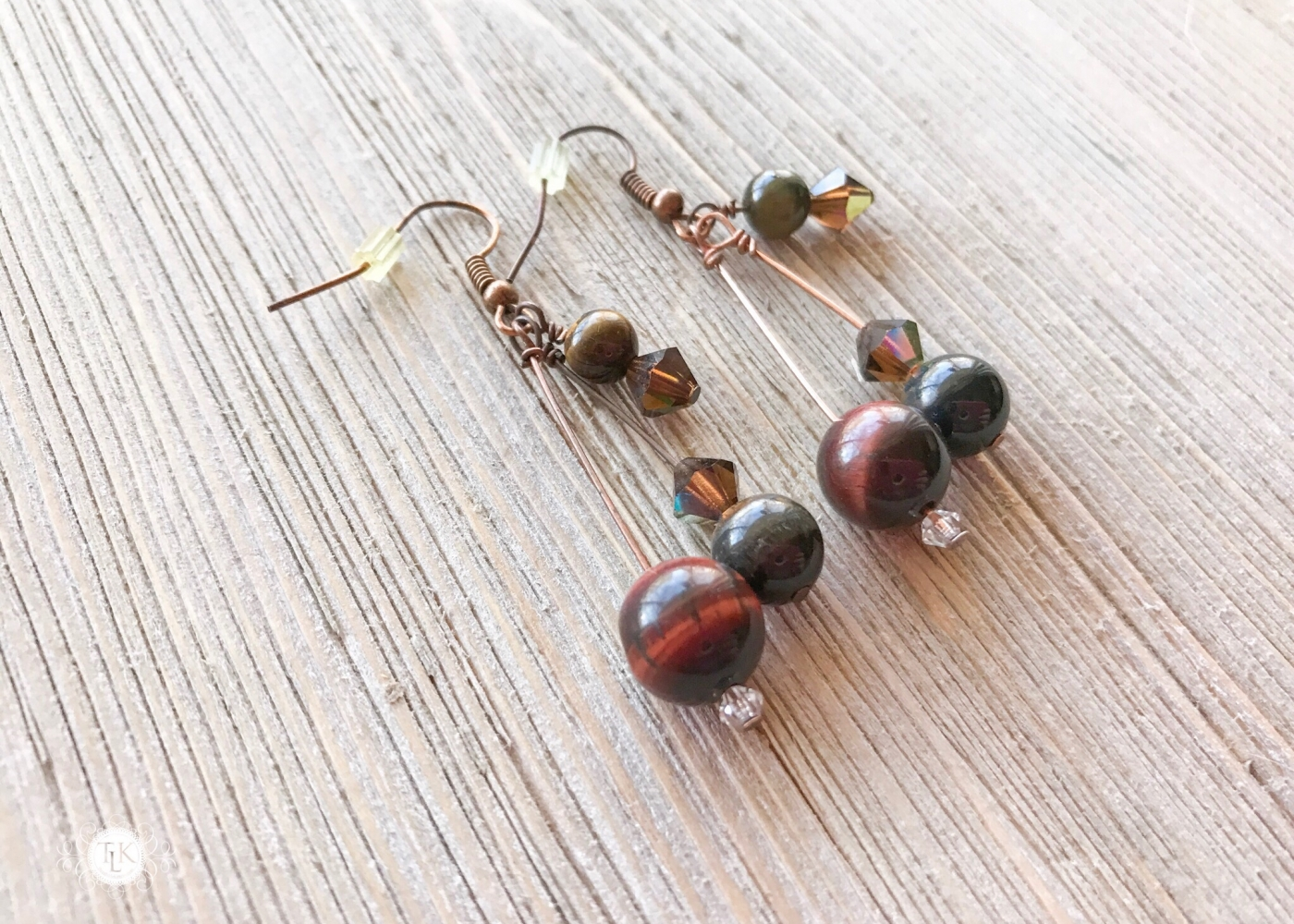 THREE LITTLE KITTENS | Multicolor Tiger Eye and Crystal Pierced Earrings 3649e
