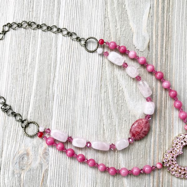 THREE LITTLE KITTENS   3727 Pretty in Pink Upcycled Faux Double Necklace