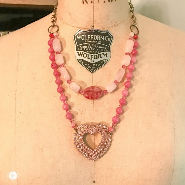 THREE LITTLE KITTENS | 3727 Pretty in Pink Upcycled Faux Double Necklace