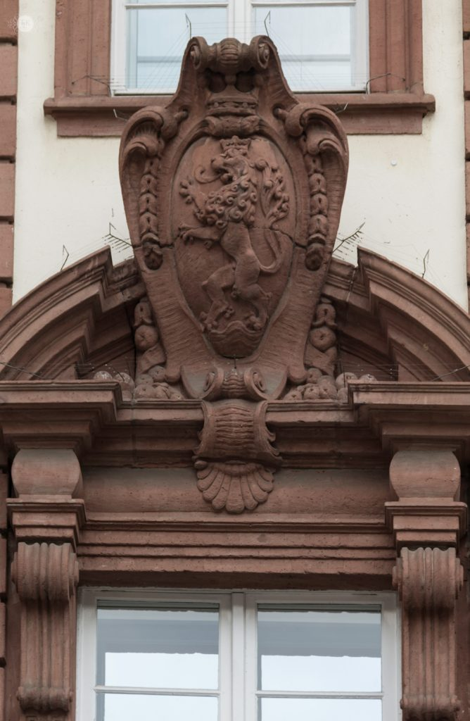 Lion's Crest on the Palais Pink Carl in Heidelberg, Germany