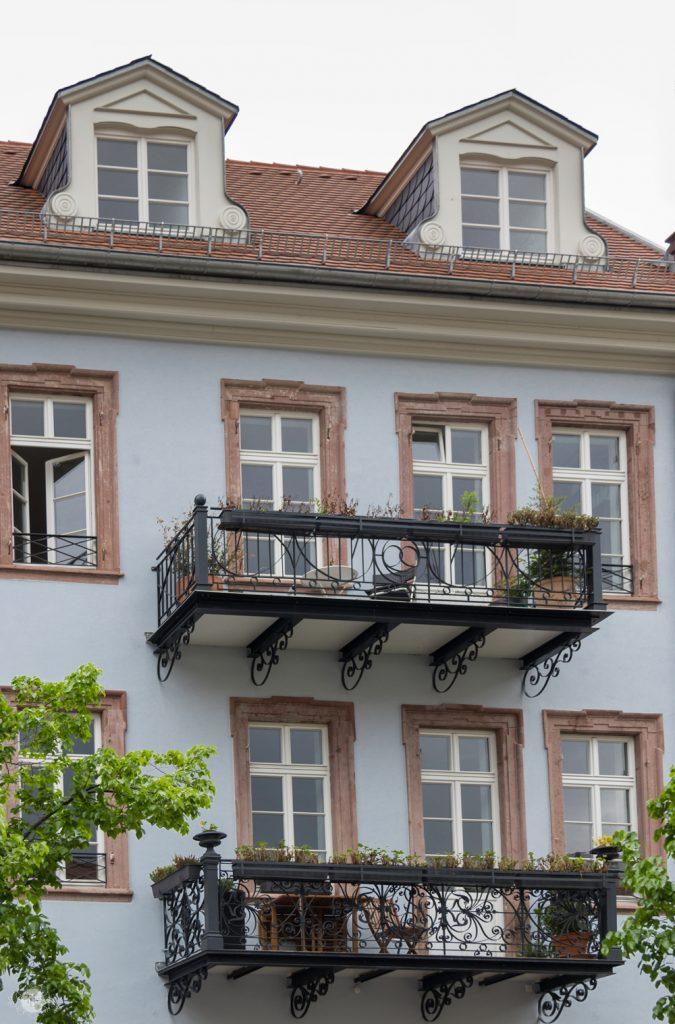 Decorative Balconies on a building in Kornmarkt in Heidelberg, Germany