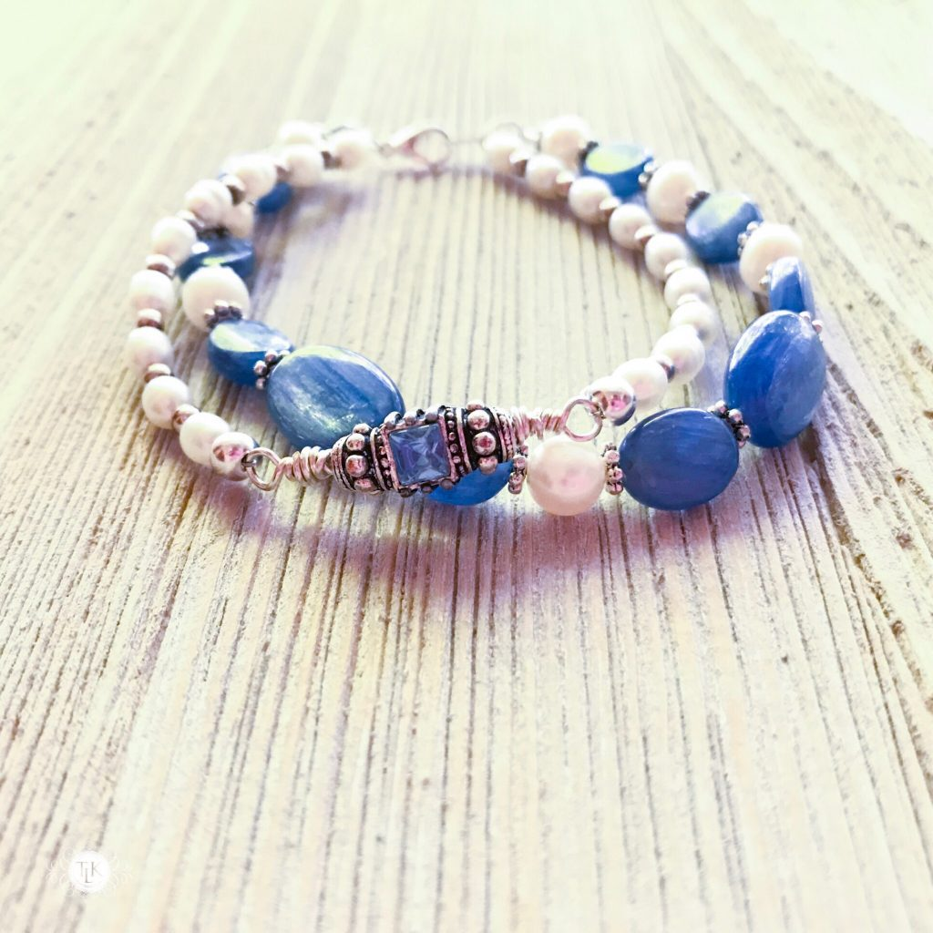 THREE LITTLE KITTENS BLOG | Kyanite, Freshwater Pearls and Swarovski Crystal Bracelets