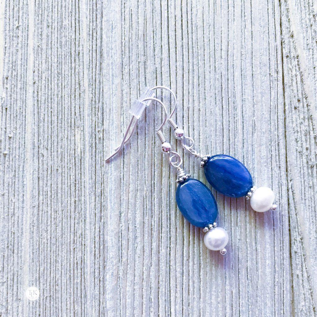 THREE LITTLE KITTENS BLOG | Kyanite and Freshwater Pearl Earrings