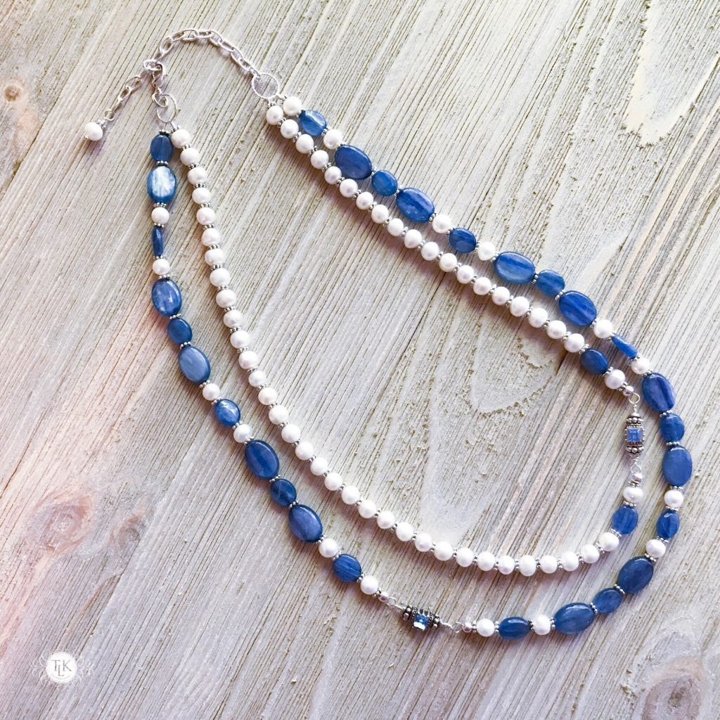 THREE LITTLE KITTENS BLOG | Kyanite, Freshwater Pearls, Swarovski Crystal and Silver Accent Double Strand Necklace