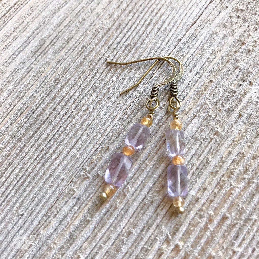 THREE LITTLE KITTENS BLOG | 3736 E Amethyst and Citrine Pierced Earrings